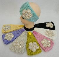 Hand Knitted Ear Band w Applique [Flower/Pearl/Diamond]